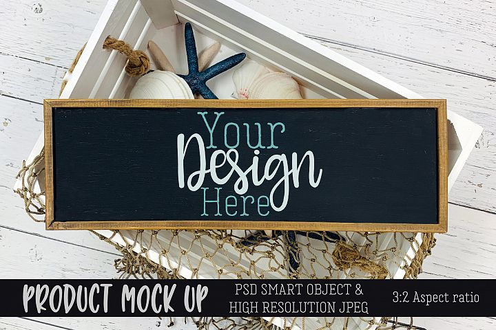 Beach wood sign Craft mock up | PSD & JPEG