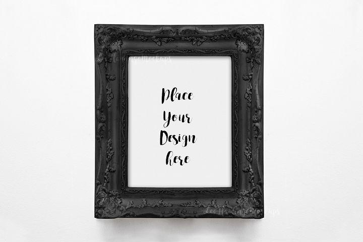 Vintage black frame mockup, Antique 8x10 picture frame mock