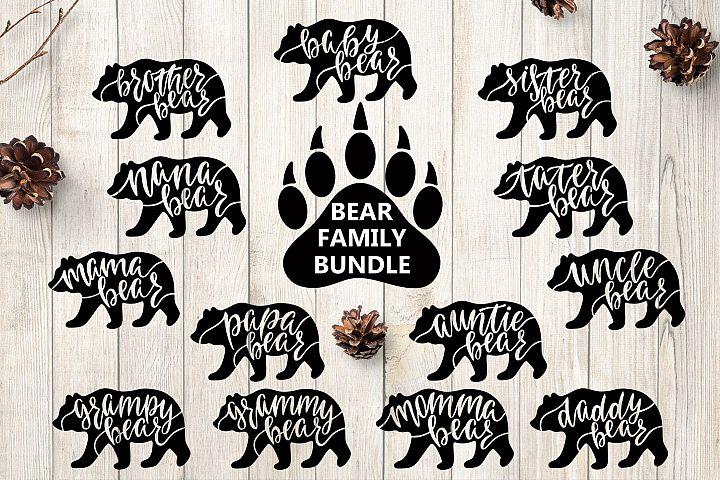 Bear Family SVG Bundle. Bear Paw SVG. Vector Illustration.