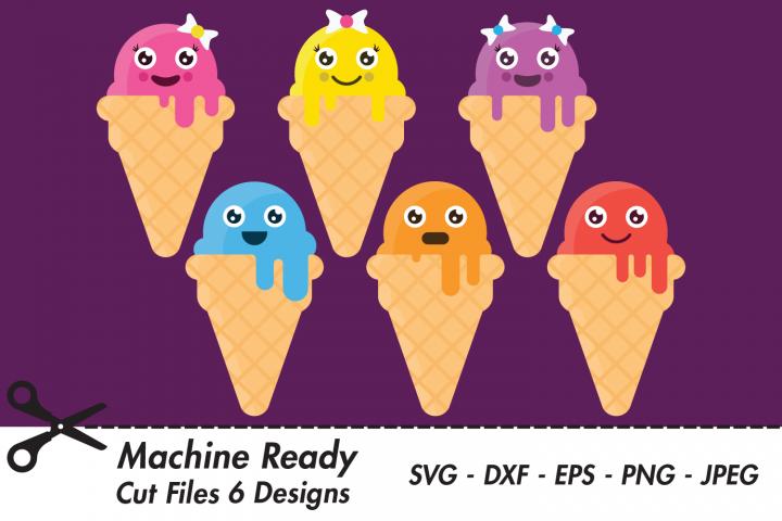 Cute Ice Cream Cone Bundle SVG Cut Files, Sweet Kawaii Food