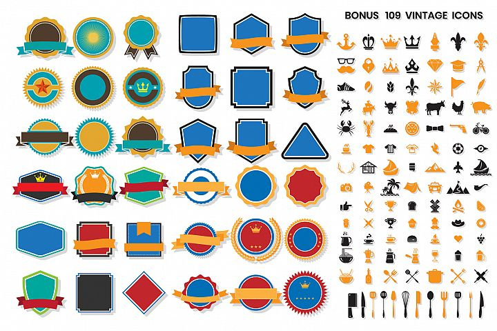 Vintage Badge & Objects Vector Set