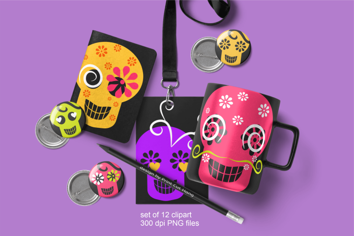 Skulls Clipart Set Kids Friendly Look PNG Files
