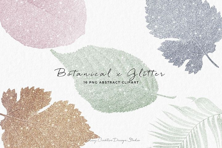 Botanical x Glitter Abstract Clip Art in Multiple Colors