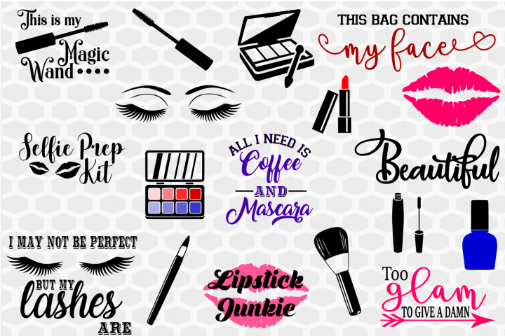 Makeup SVG Bundle, makeup clip art, makeup quotes