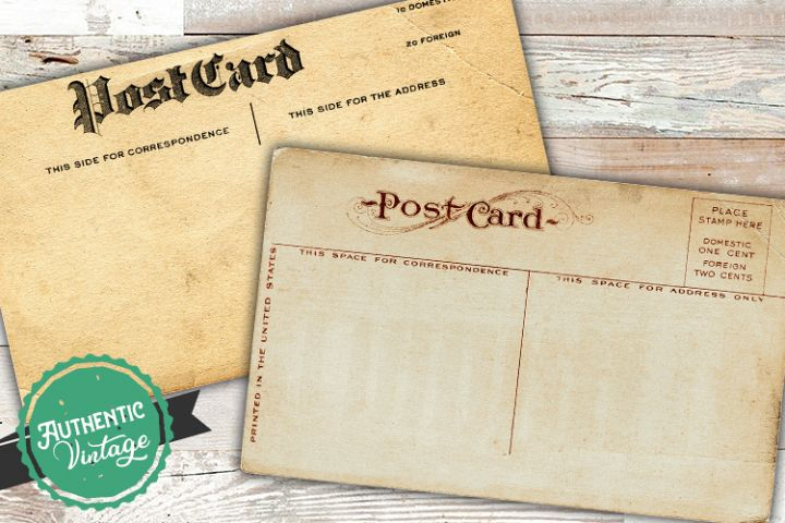 2 Blank Antique Postcards Old Vintage Paper Sublimation PNG