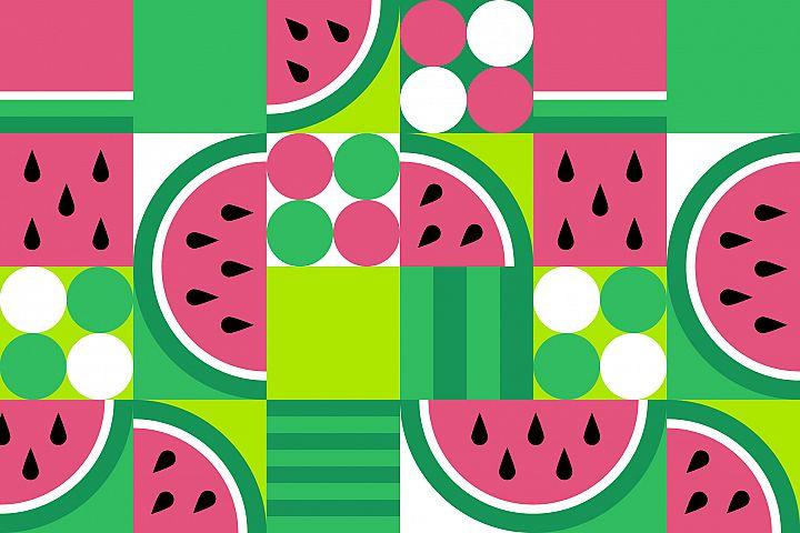 3 Geometric Watermelon Pattern