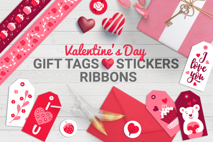 Valentine Gift Tags, Stickers, Tapes