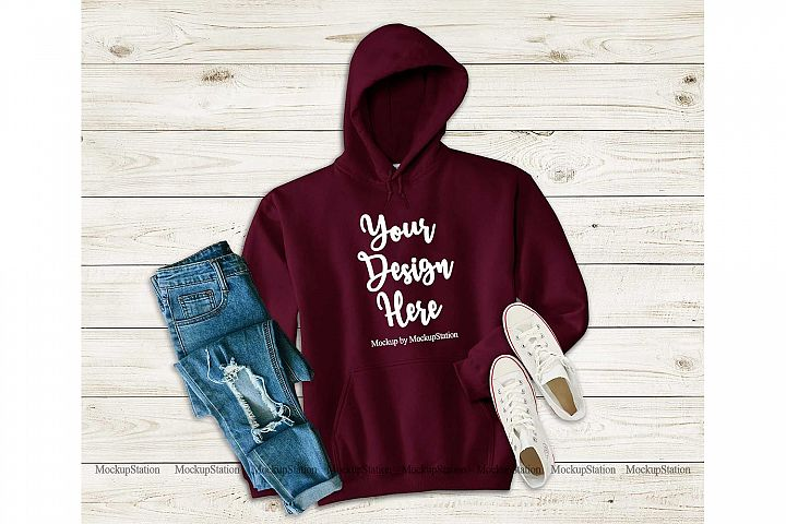 Maroon Hoodie Mockup, Hooded Sweatshirt Mock Up Flat Lay