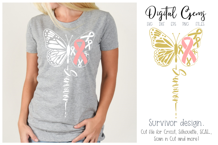 Breast cancer survivor, butterfly SVG / DXF / EPS / PNG file