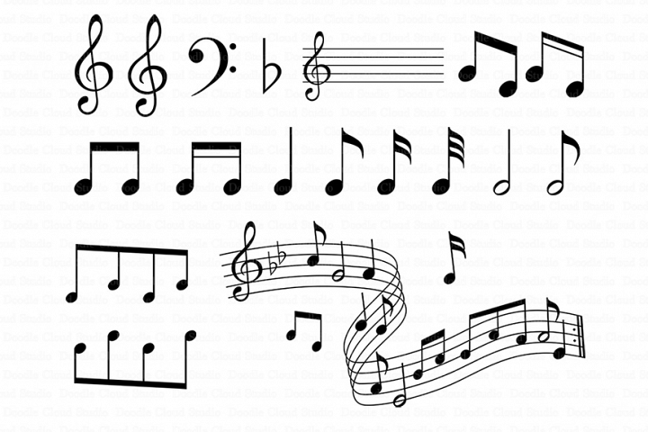 Musical Notes SVG for Silhouette Cameo and Cricut.Music pentagram SVG, Musical Notes Clipart, Clipart PNG transparent included.