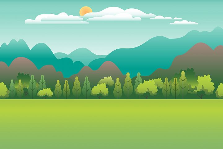 Hills and mountains landscape in flat style design. Valley