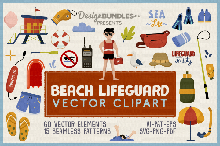 Beach Lifeguard Vector Clipart and Seamless Pattern