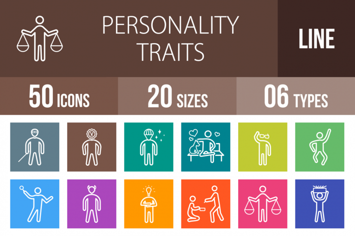 50 Personality Traits Line Multicolor B/G Icons