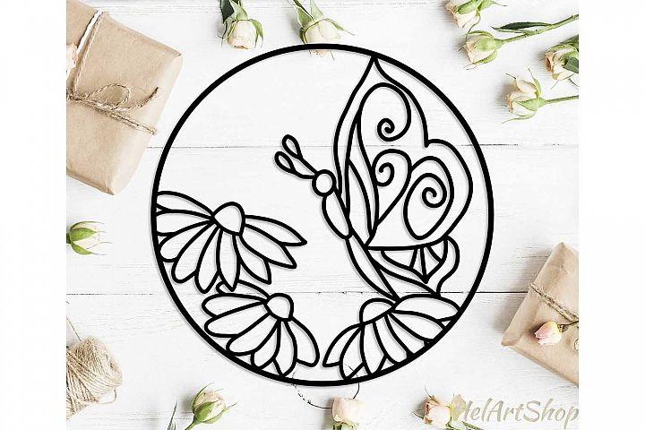 Circle Cutting Template with flowers and butterfly.