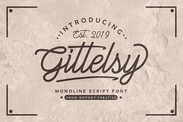 Gittelsy | Monoline Script Font