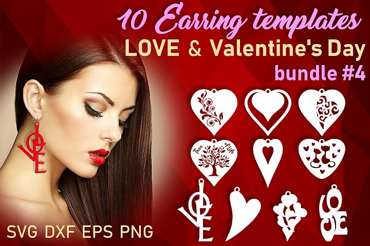 10 Valentine Love earrings svg Leather earrings svg Necklace