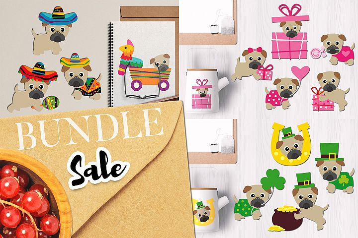 Holidays Pugs Illustrations Bundle
