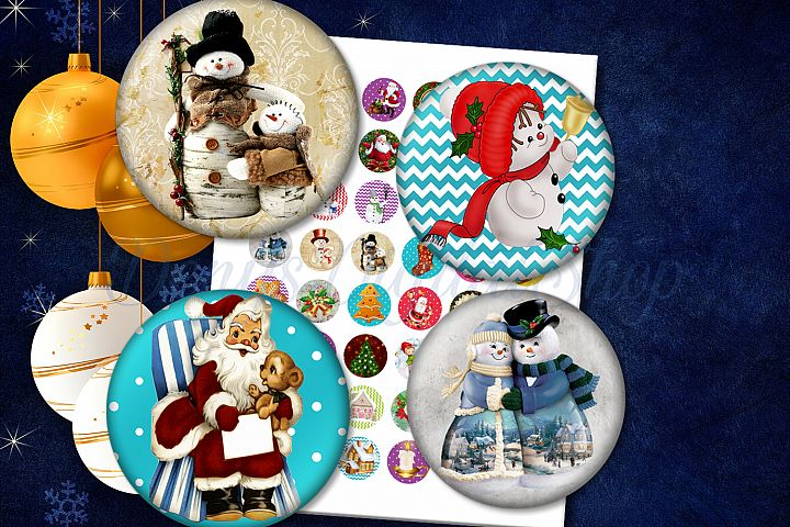 Christmas images,48 Holidays Images,Digital Collage,Circles