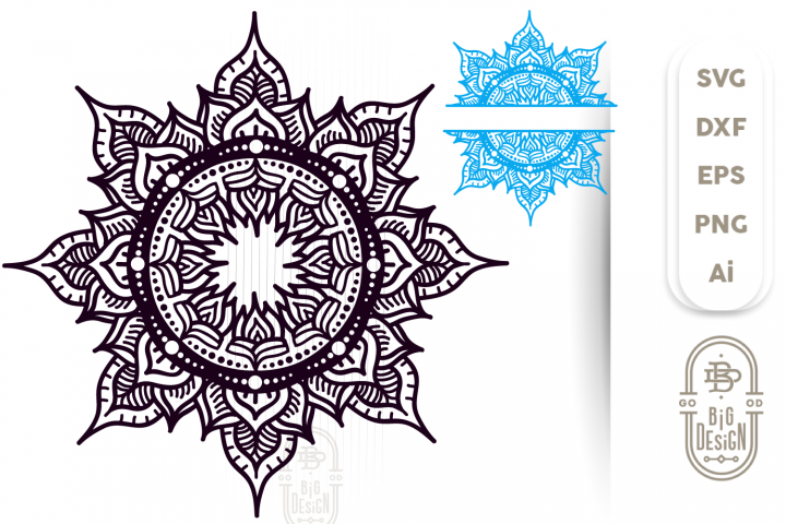 Mandala SVG & Mandala Split SVG , Mandala DXF EPS PNG SVG