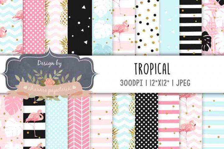 Flamingo Digital Paper, Pineapple, Monstera paper
