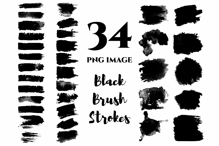 Watercolor black brush strokes, Clip art