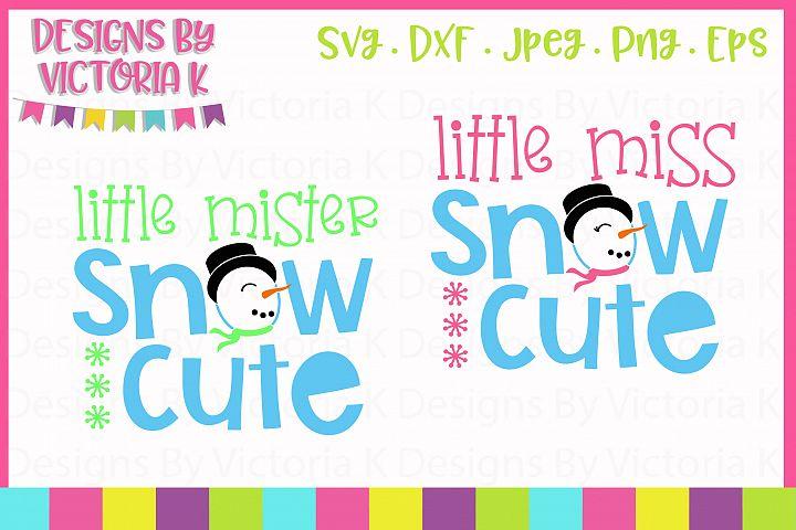 Little Mister & Little Miss Snow Cute, Christmas, SVG, DXF