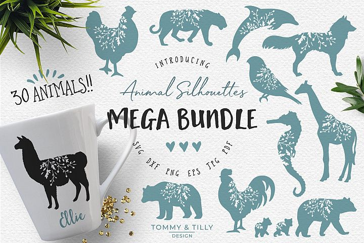 Animal Silhouettes Mega Bundle - SVG DXF PNG EPS JPG PDF Cut