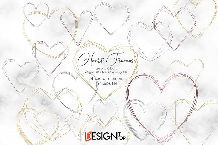 Heart frame clipart, geometric golden frame, Polygonal Frame