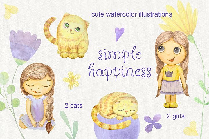 Simple happines. Set of watercolor girls and cats