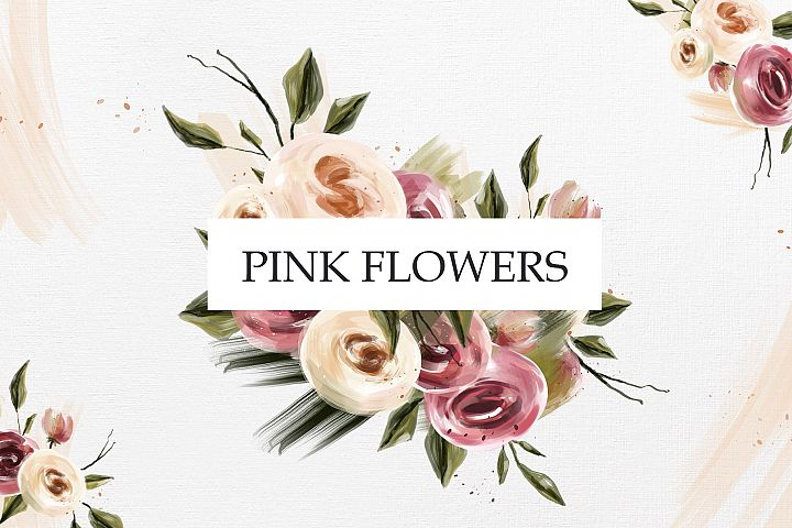 Pink oil flowers collection Pink oil flowers collection by