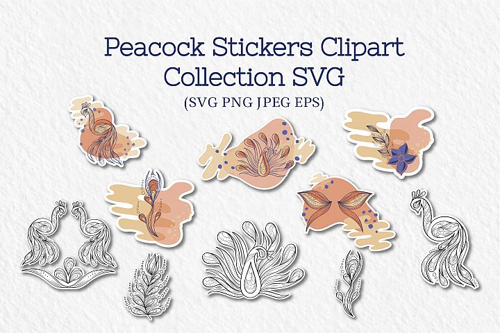 Peacock Stickers Clipart, Collection of SVG files