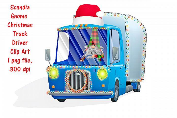 Christmas Trucking Driving Gnome Clip Art