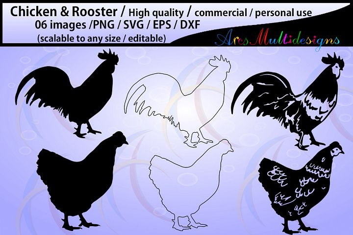 chicken and rooster silhouette / commercial & personal use/ silhouette / cricut,cameo,Diy cut / SVG / Eps / Dxf / Png / animal silhouette