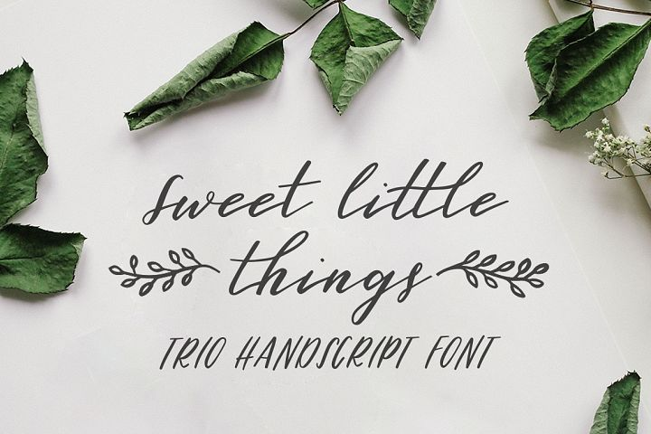 Sweet Little Things TRIO font - Script, Caps & Ornaments
