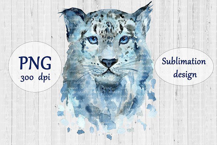 Watercolor Snow Leopard - PNG Animal Sublimation Design