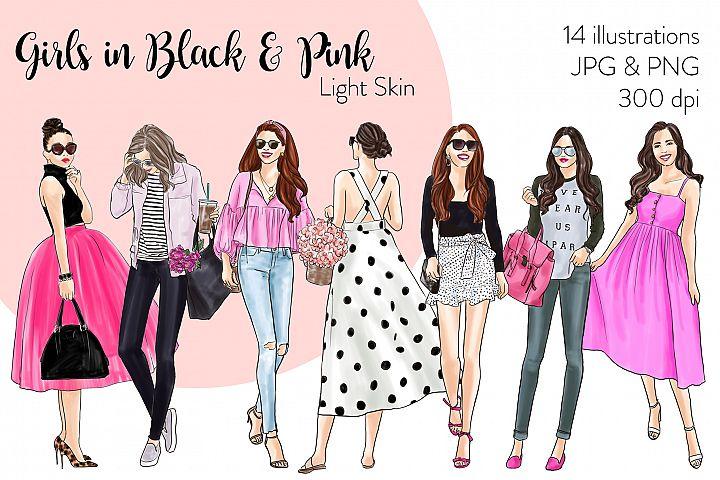 Fashion illustration clipart - Girls in Black & Pink - Light