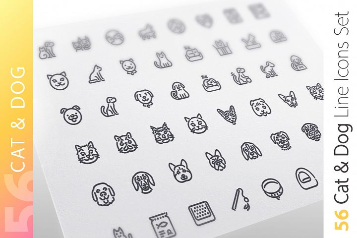 Cat & Dog Line Icons Set