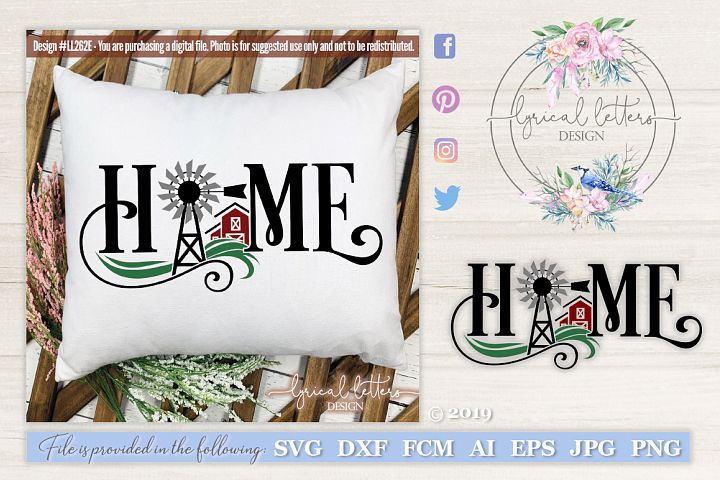 NEW! Farmhouse Home with Windmill and Barn SVG DXF LL262E
