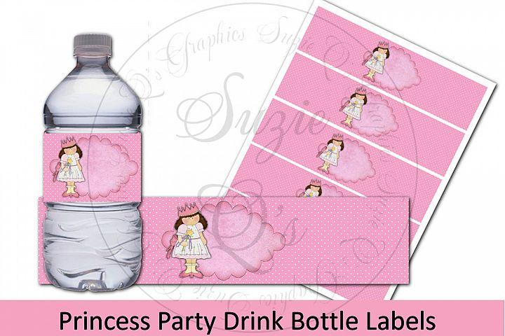 Princess Party Drink Bottle Labels