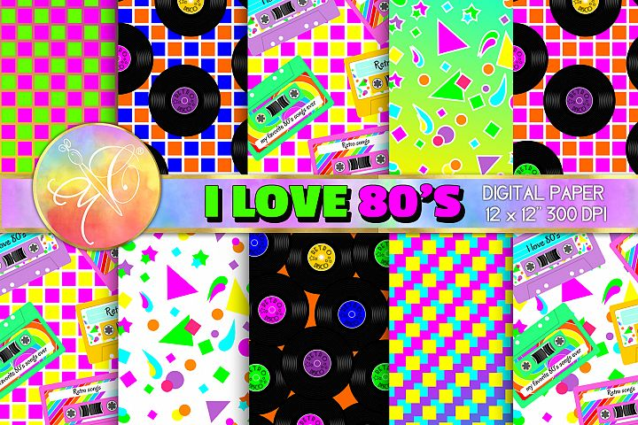I LOVE 80s Digital Paper, Digital Background