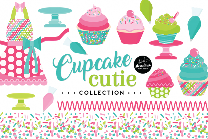 Cupcake Cutie Clipart Graphics & Digital Paper Patterns Bundle