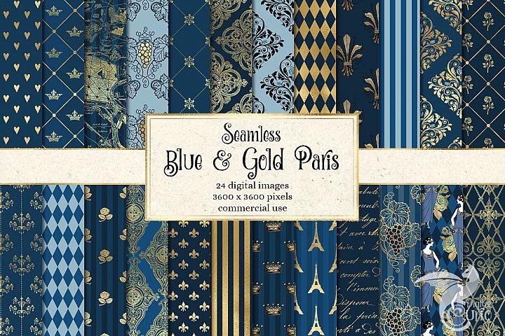 Blue and Gold Paris Digital Paper