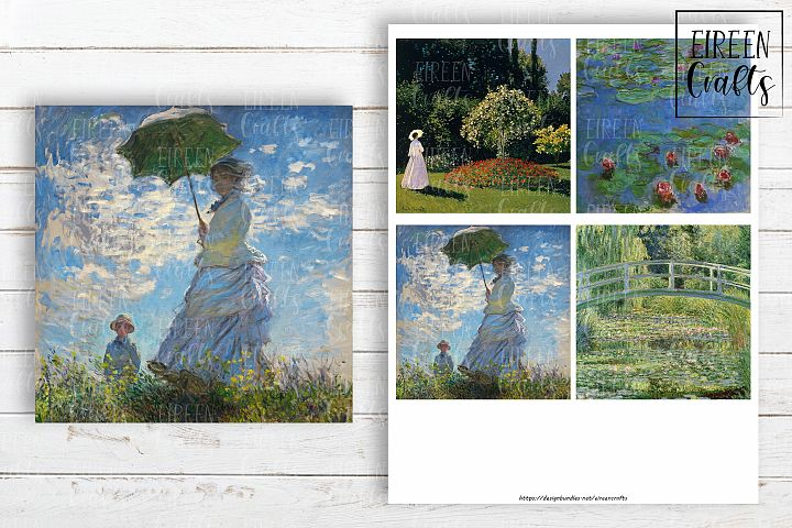Claude Monet 4x4 inch tiles, Coasters Collage Sheet