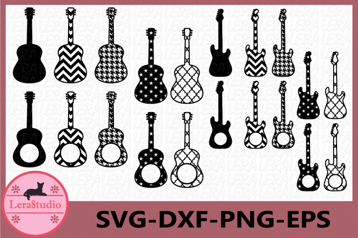 Guitar SVG, Guitars silhouette, Guitar Monogram Cut File