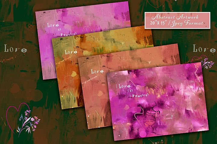 Artistic Love Backgrounds. Abstract Valentines Day Styles
