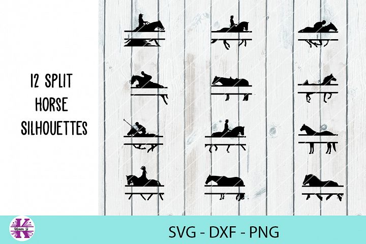 12 Split Horse Silhouettes - SVG DXF PNG