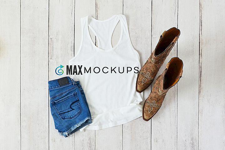 White tank top Mockup, summer shorts boots flatlay image
