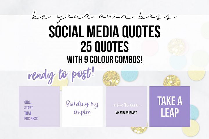 25 x Lilac Purple Be Your Own Boss Social Media Quotes