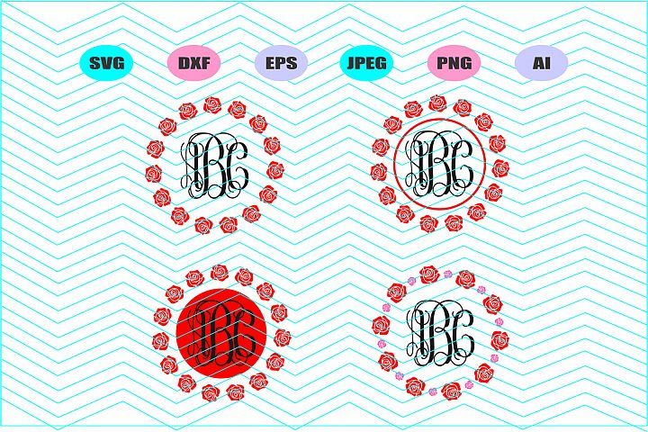 Rose monogram Frame Svg Dxf Eps Png Jpg Ai Cut Vector Vinyl