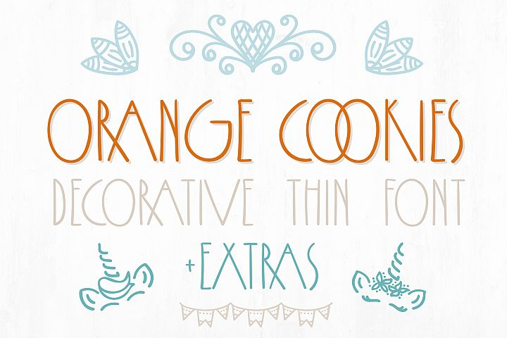 Orange Cookies - thin font with extra characters pictures